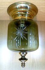 Decken Lampe JBS Rauchglas geschliffen Messing 50/60er Jahre