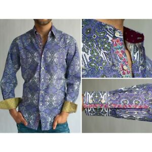 Robert Graham Abstract Purple Paisley Flip Cuffs Embrdry Shirt L Large NEW $268