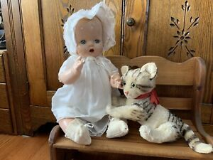 """Vintage HORSMAN BABY BUTTERCUP Composition/Cloth DOLL; 19"""",crier works;lovely"""