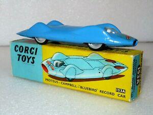CORGI 153A PROTEUS CAMPBELL BLUEBIRD RECORD CAR. NICE LIGHTLY WORN BOXED MODEL