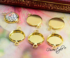 12mm Gold Plated Cabochon Connector Bases | 16pcs