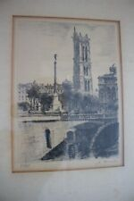 Antique Framed European Etching Artist Signed and Numbered