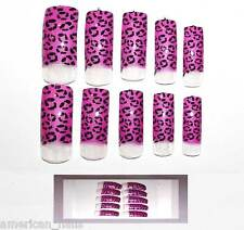 30 capsule faux ongle pour French Léopard Rose Fuchsia Nail Art