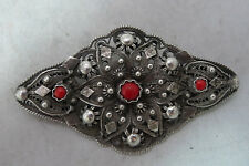 Antique Silver & Red Stone Brooch 5.8cm Width 10.6g A621117