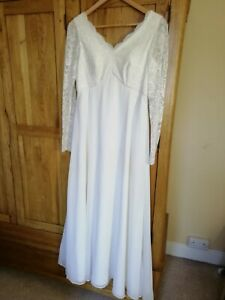Wedding dress full length, empire line in cream chiffon & lace with accessories.