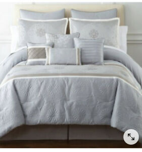 NIP JC Penney Home Expressions Elyse Platinum Gray Queen Comforter Set 10pc