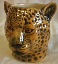 QUAIL CERAMIC LEOPARD DESK TIDY, PENCIL, PEN, BRUSH POT OR VASE WILDLIFE ANIMAL