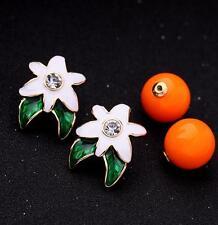 Rhinestones enamel Jewelry Betsey Johnson golden fruit Leaves Cute Earring Charm