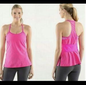 lululemon Pink tank top Built In Sports Bra Woman's Size 6