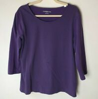 Croft & Barrow Women's Top Size Large 3/4 Sleeves Cotton Blend Polka Dots Purple