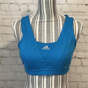 Adidas Climacool Sports Bra Aqua Padded Crossback Size Large