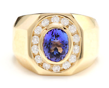 Heavy 5.10Ct Natural Tanzanite and Diamond 14K Solid Yellow Gold Men's Ring