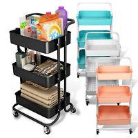 3 Tier Removable Kitchen Cart Trolley Rack Holder Storage Shelf Organizer Wheels