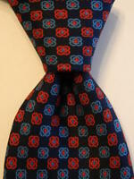 E. MARINELLA NAPOLI Men's 100% Silk Necktie ITALY Luxury Geometric Blue/Red EUC