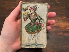 19th Century PaperBoard Trinket Box Great Applied/ Paint Decoration Woman & Bird