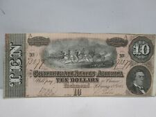 1864 US $10 CONFEDERATE STATES NOTE