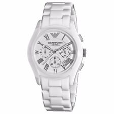 NEW Emporio Armani AR1403 White Tone Ceramic Chronograph Quartz Wrist Watch