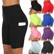 Womens High Waist Gym Leggings Pocket Fitness Sports Running Shorts Yoga Pants