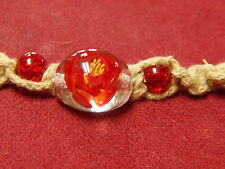 """RED GLASS BEAD w/ YELLOW FLOWER ROPE NECKLACE 7"""" LONG"""