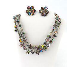 "Vtg Rainbow Crystal Iridescent Glass Stunning Necklace Clip-on Earring Set 16"""
