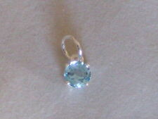 New 925 Sterling Silver Pendant Genuine Blue Topaz Gemstone Charm 6 mm