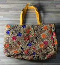 Indian From India Flower Jeweled Over The Shoulder Bag/Purse Yellow Interior NEW