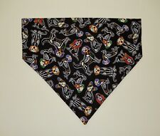 HALLOWEEN DOG SKELETONS ON BLACK DOG SCARF/BANDANA--S, M, L