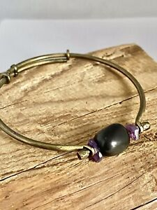 Vintage Handmade BANGLE BRACELET Unique Design Brass Adjustable ONYX AMETHYST