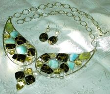 LARIMAR CITRINE BROWN TURQUOISE PEARL Sterling .925 Collar BIB NECKLACE Set
