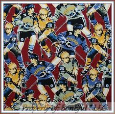 BonEful Fabric FQ Cotton Quilt VTG NHL ICE HOCKEY Sport Star Boy B&W L Game Team
