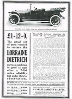 1911 Original Antique Lorraine Dietrich Torpedo Car Art Print Ad