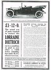 1911 Antique Vintage Lorraine Dietrich Torpedo Automobile Car Art Print Ad