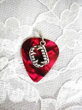 WICKED BLOOD RED GUITAR PICK w ALLOY VAMPIRE TEETH CHARM PENDANT ADJ NECKLACE