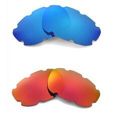 New Walleva Polarized Fire Red + Ice Blue Vented Lenses For Oakley Split Jacket