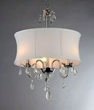 Transitional Silver Chrome Crystal Drum White  Lampshade Chandelier Tiffany