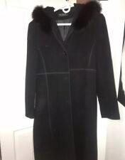 VTG Steve By Searle Wool Cashmere Long Coat Black Fur Trimmed Hood Size Smal