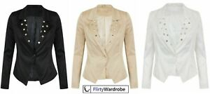 Classy Coat Jacket Studded Blazer Satin Asymmetric Padded Shoulder Womens Ladies