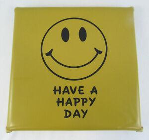 Vintage Smiley Happy Face Stadium Seat Cushion Happy Day Sad is Bad