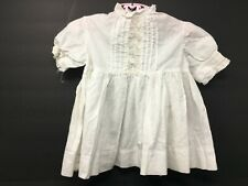 Vintage White Cotton Girls Toddlers Victorian Dress With Tucks & Lace Trim