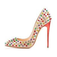 onlymaker Women Sexy Pointed Toe High Heels Pumps Rivet Studded Stiletto Sandals
