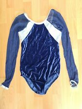 Girls Blue and white long sleeve Leotard Size 3A (approx size 34)