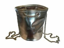 Jean Paul Gaultier Metallic Silver Bucket Backpack Bag with Chain Straps **NEW**