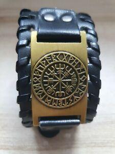 Vintage Men Norse Viking Compass Charm Belt Rune Leather Cuff Buckle Bracelet