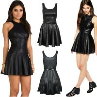 Ladies PVC Wet Look Plus Belted Flared New Celebrity Sexy Skater Dress TOP 8-26