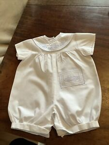 Vintage White With Blue Embroidery Cars Romper suit Baby Boy age 0-8 months