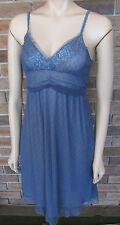 Sweet Steel Blue Mesh & Lace Tea Dress ~ Size M / 10 ~ AS NEW