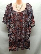 CITY CHIC MULTI COLOURED BATWING SMART CASUAL TOP SIZE M
