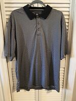 Lone Cypress by Pebble Beach Mens XL Short Sleeve Blue Striped Polo Golf Shirt