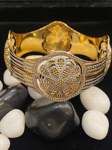 Classy Heavy Dubai Handmade Bangle Bracelet In 916 Stamped 22K Multi-Tone Gold