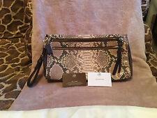 COACH Madison Large Clutch CHOCOLATE BROWN Python Print Handbag Fits A Phone